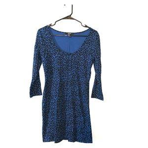 Forever 21 --  Bodycon Blue/Black Leopard Dress